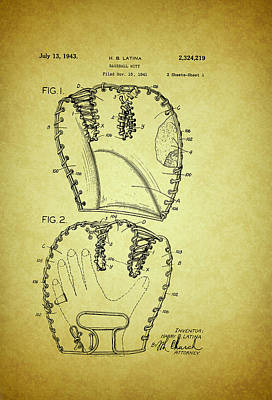 Baseball Glove Patent 1943 Poster by Mountain Dreams