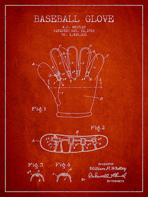 Baseball Glove Patent Drawing From 1922 Poster by Aged Pixel