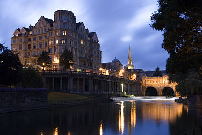 Bath City Spa Viewed Over The River Avon At Night Poster