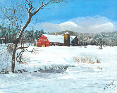 Poster featuring the painting below freezing in New England by Stuart B Yaeger