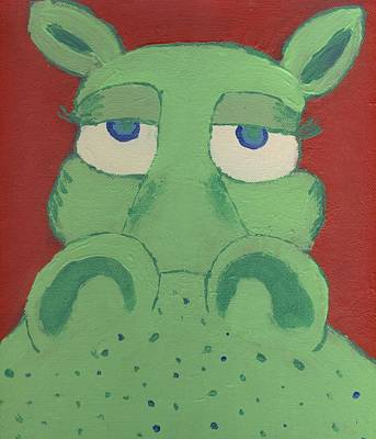 Poster featuring the painting Big Green Potamus by Yshua The Painter