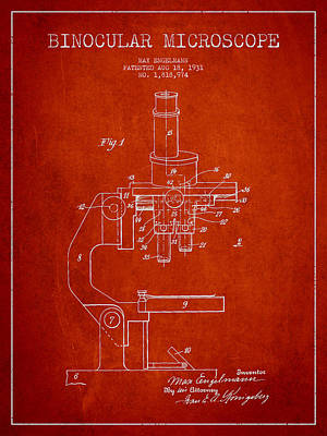 Binocular Microscope Patent Drawing From 1931 - Red Poster by Aged Pixel