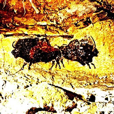 2 Bison Lascaux Cave Se France Poster by L Brown