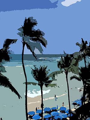 Blue Beach Umbrellas Poster by Karen Nicholson