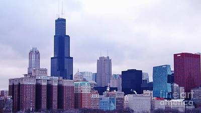 Poster featuring the photograph Blue Chicago Skyline by Brigitte Emme