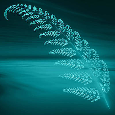 Blue Fern Poster by Sandy Keeton
