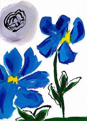 Poster featuring the painting 2 Blue Petunias Abstract by Frank Bright