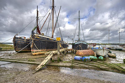 Boats On The Hard At Pin Mill Poster by Gary Eason