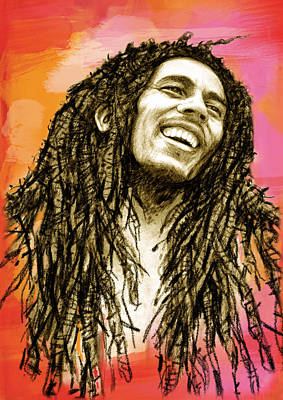 Bob Marley Stylised Pop Art Drawing Potrait Poser Poster by Kim Wang