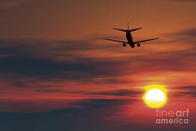 Boeing 737 Ascending At Sunset, Artwork Poster by Detlev van Ravenswaay