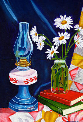 Poster featuring the painting 2 Books And A Lamp by Laura Forde