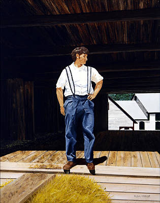 Poster featuring the painting Boy In The Barn by Ron Haist