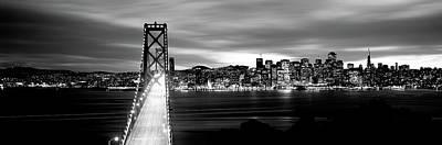 Bridge Lit Up At Dusk, Bay Bridge, San Poster