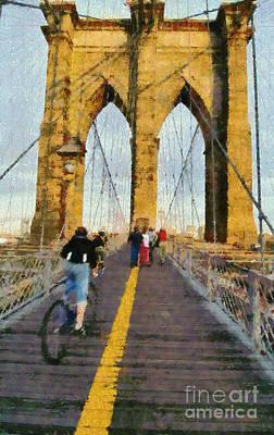 Brooklyn Bridge Promenade Poster by George Atsametakis