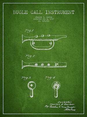 Bugle Call Instrument Patent Drawing From 1939 - Green Poster by Aged Pixel