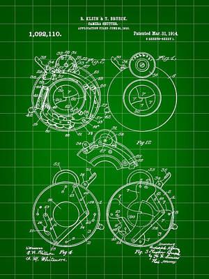 Camera Shutter Patent 1910 - Green Poster