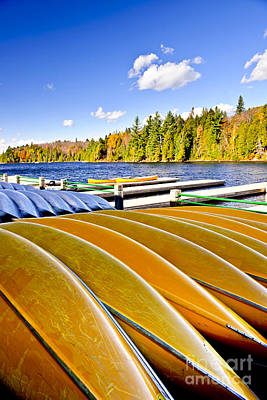 Canoes On Autumn Lake Poster by Elena Elisseeva