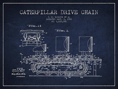 Caterpillar Drive Chain Patent From 1952 Poster by Aged Pixel