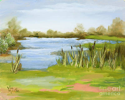 Poster featuring the painting Cattails At Forest Park by Vic  Mastis