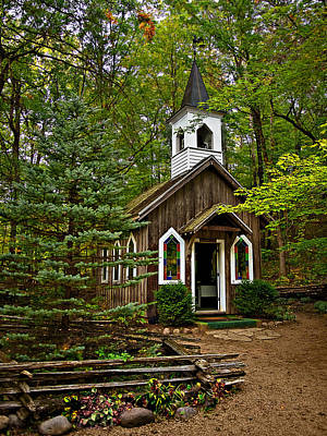 Chapel In The Woods Poster by Judy  Johnson