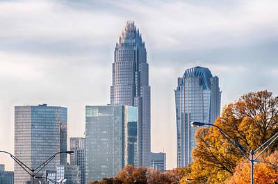 Charlotte North Carolina Skyline During Autumn Season At Sunset Poster