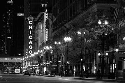 Chicago Theatre At Night Poster