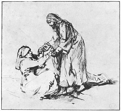 Christ Helping Up Lady Poster by Rembrandt
