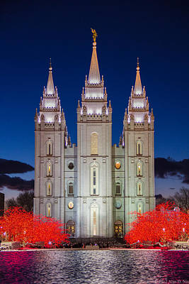 Christmas At Temple Square 5 Poster by Alan Nix