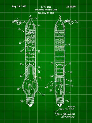Christmas Bubbling Light Bulb Patent 1945 - Green Poster by Stephen Younts
