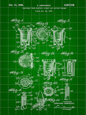 Christmas Bulb Socket Patent 1936 - Green Poster by Stephen Younts