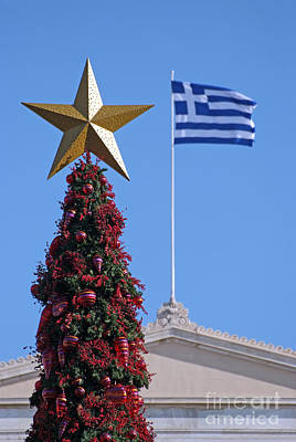 Christmas Tree And Greek Flag Poster by George Atsametakis