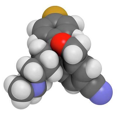 Citalopram Anti-depressant Drug Molecule Poster by Molekuul