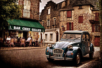 Poster featuring the photograph Citroen 2cv In French Village / Meyssac by Barry O Carroll