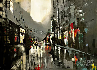 Cityscape Oil Painting Poster