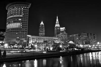 Cleveland In Black And White Poster by Frozen in Time Fine Art Photography