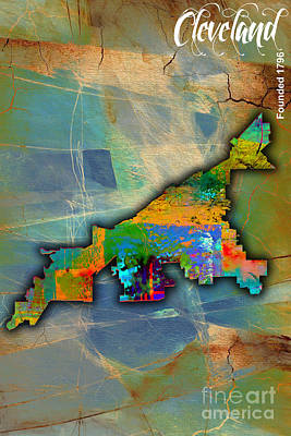Cleveland Map Watercolor Poster by Marvin Blaine