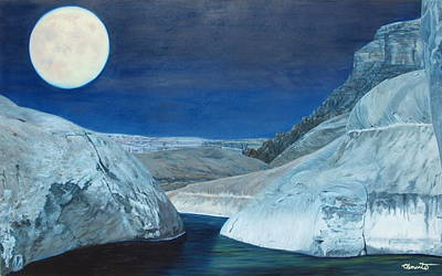 Cold Water Passage Beneath Full Moon Poster by Barbara Barber