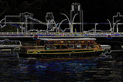 Colorful River Cruise Boat In Singapore Next To A Bridge Poster by Ashish Agarwal