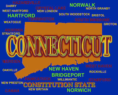 Connecticut State Pride Map Silhouette  Poster