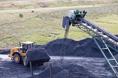 Conveyor With Coal From Opencast Mine Poster
