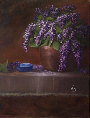 Copper Vase And Lilacs Poster
