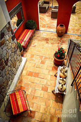 Courtyard Of A Villa Poster by Elena Elisseeva