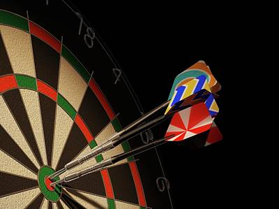 Dartboard And Three Darts Poster