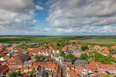 Denmark, Jutland, Ribe, Elevated Town Poster