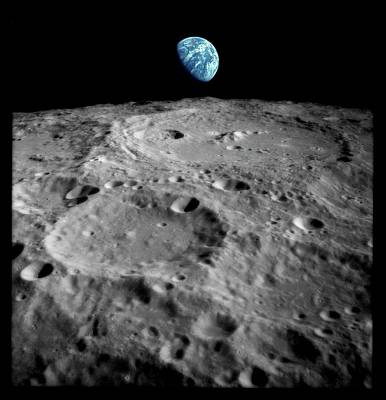 Earthrise Over The Moon Poster by Detlev Van Ravenswaay