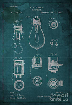 Edison Lamp Base Patent Blueprint Poster