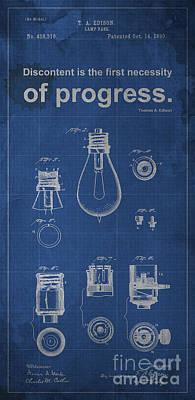 Edison Quote Lamp Patent Blueprint Poster
