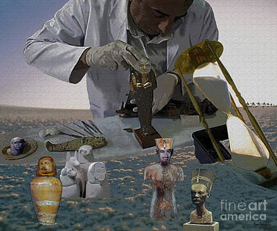 Poster featuring the digital art Egyptian Artifacts by Megan Dirsa-DuBois