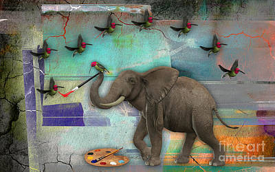 Elephant Painting Birds Out Of Thin Air. Poster