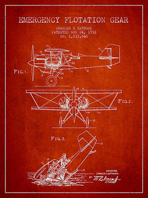 Emergency Flotation Gear Patent Drawing From 1931 Poster